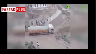 لحظه سقوط راننده ناشی به دره با کامیون!