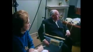Alfred Hitchcock directing the necktie strangling scene from Frenzy