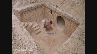 ساخت خانه در زیر زمین به روش انسان های اولیه ، ضمنابا استخر سرپوشیده