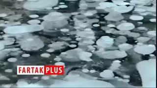 دریاچه ای با میلیون ها حباب یخ زده