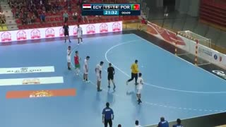 دیدار تیم های ملی هندبال مصر و پرتغال در قهرمانی نوجوانان جهان2019