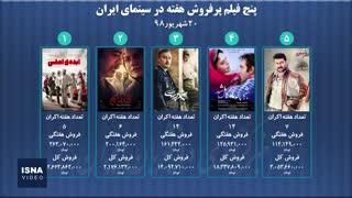 پنج فیلم پرفروش هفته - ۲۰ شهریور ۹۸