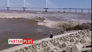 موج عظیمی که یک مرد میانسال را بلعید!