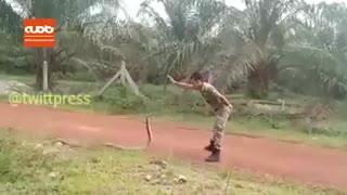 جدال سرباز مالزیایی با یک مار خطرناک!