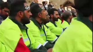 تصاویری از آیین بدرقه خدام و زائران اربعین حسینی در حرم مطهر رضوی