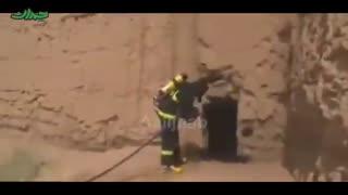مانور آتش نشانی در یک قلعه تاریخی
