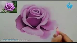 آموزش نقاشی از گل با مدادرنگی