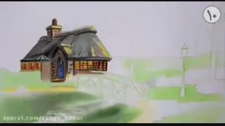 آموزش نقاشی از منظره با مدادرنگی