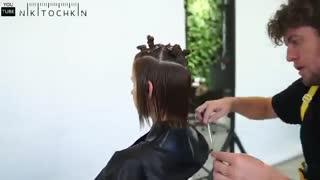 آموزش مدل مو کوتاه تکنیک لایه ای- مومیس مشاور و مرجع تخصصی مو