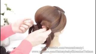 آموزش مدل مو دخترانه شینیون طرح دار- مومیس مشاور و مرجع تخصصی مو