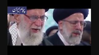 فیلم - اشکهای رهبر انقلاب در نماز بر پیکر سردار سلیمانی و همرزمان شهیدش