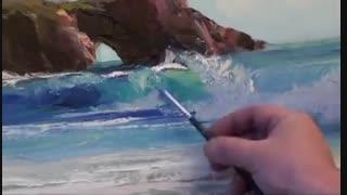 نقاشی منظره -  دریا . تکنیک رنگ روغن. ( از ابتدا تا انتها) توسط نقاش روس، ایگور ساخاروف