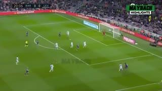 خلاصه بازی بارسلونا 2 - لوانته 1 از هفته بیست و دوم لالیگا اسپانیا