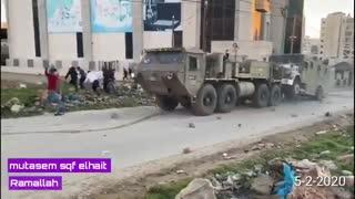 فلسطینیها خودروی نظامی صهیونیستی را به آتش کشیدند