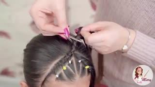 آموزش مدل مو بچه گانه دختر با بندهای ضربدری- مومیس مشاور و مرجع تخصصی مو