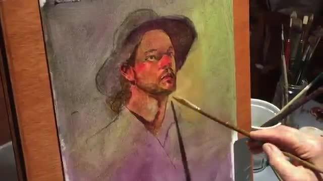 آموزش نقاشی رنگ روغن یک مرد با کلاه