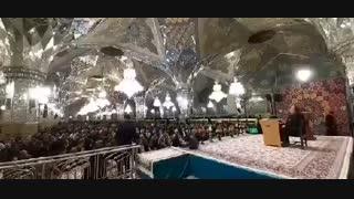 مراسم جشن شب میلاد امام محمد باقر(ع) در حرم رضوی؛ رواق امام خمینی(ره)