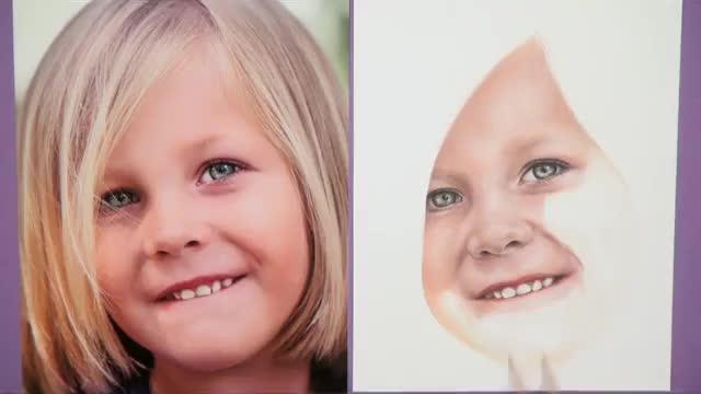 آموزش نقاشی پرتره با مدادرنگی از روی عکس دختر بچه