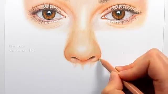 آموزش نقاشی چهره یک زن با مدادرنگی – قسمت ۲