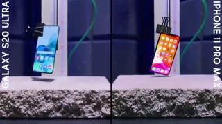 تست ضربه دو گوشی Galaxy S20 Ultra و iPhone 11 Pro Max