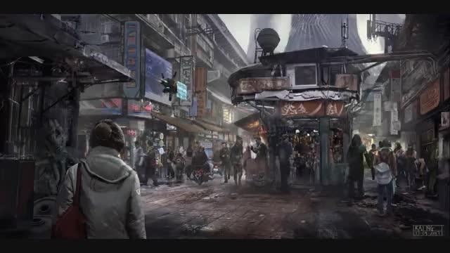 آموزش نقاشی دیجیتال محیط شهر شلوغ