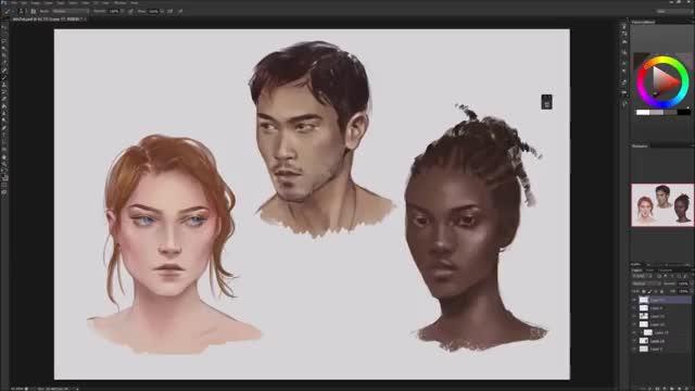 آموزش نقاشی دیجیتال چهرهها با رنگ پوستهای متفاوت