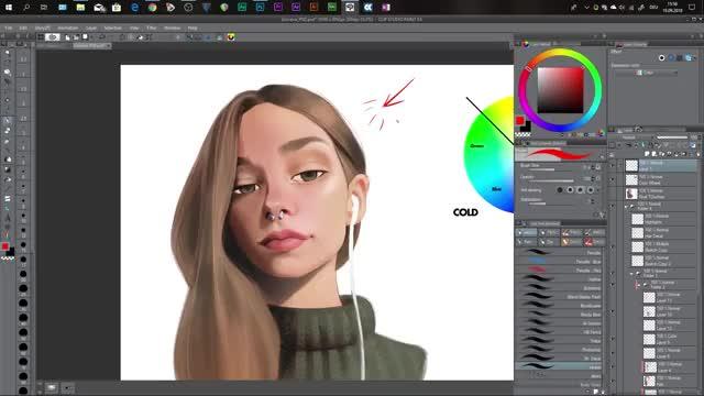 آموزش رنگ آمیزی صورت پرتره در نقاشی دیجیتال