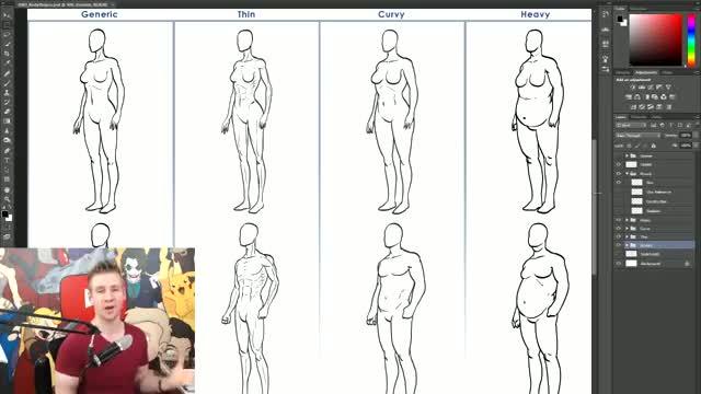 آموزش طراحی انواع بدن مردانه و زنانه