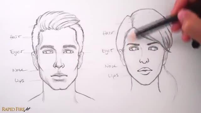 آموزش طراحی صورت مرد و زن از نمای روبرو